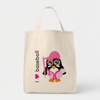I Love Baseball Penguin Tote Bags