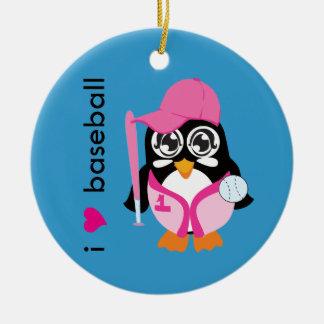 I Love Baseball Penguin Ornaments