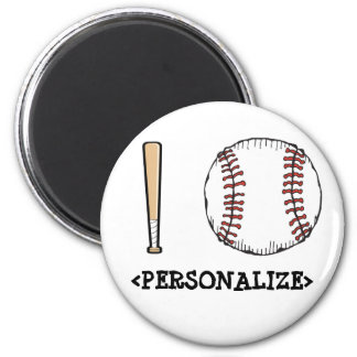 I Love (Baseball), <PERSONALIZE> 2 Inch Round Magnet