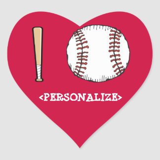I Love (Baseball), <PERSONALIZE> Heart Sticker