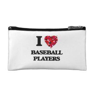 I Love Baseball Players Makeup Bags