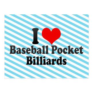 I love Baseball Pocket Billiards Postcard