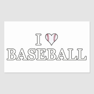I Love Baseball Rectangular Sticker