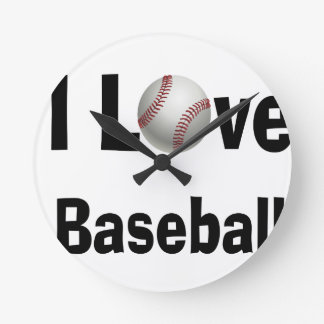 I Love Baseball Round Clock