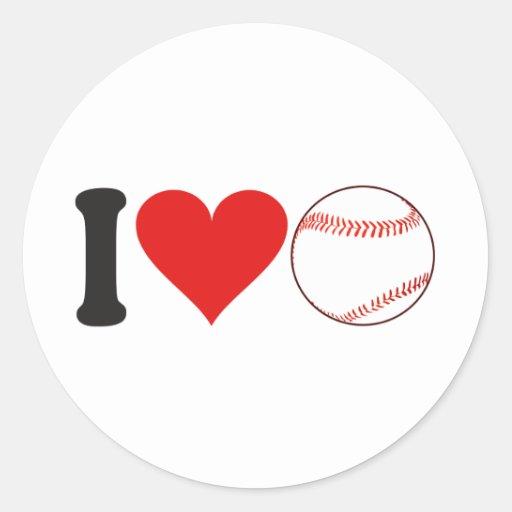 I Love Baseball * Round Stickers
