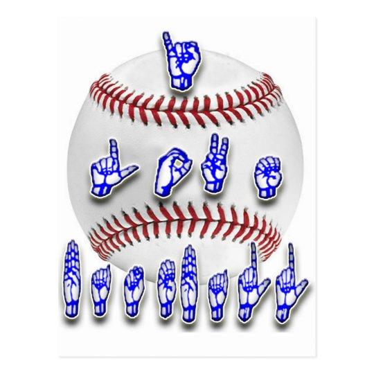 I Love Baseball - Sign language Postcard