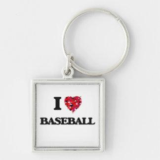 I Love Baseball Silver-Colored Square Keychain