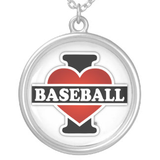 I Love Baseball Silver Plated Necklace