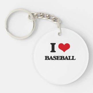 I Love Baseball Single-Sided Round Acrylic Keychain