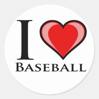 I Love Baseball Round Stickers