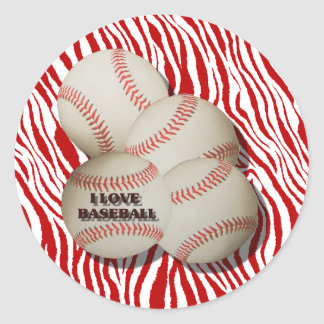 I LOVE BASEBALL -STICKER CLASSIC ROUND STICKER