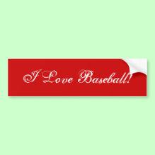 'I Love Baseball' Wall / Laptop / Car Bumper Sticker