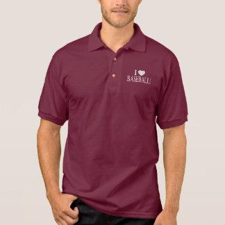I Love Baseball with Baseball-Shaped Heart Polo Shirt