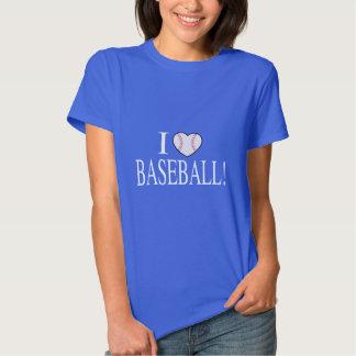 I Love Baseball with Baseball-Shaped Heart Tee Shirt