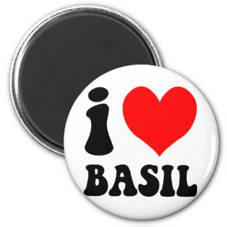 i love basil 2 inch round magnet