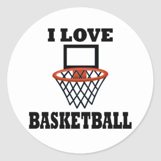 I Love Basket Basketball Classic Round Sticker