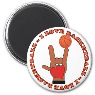 I LOVE BASKETBALL ASL SIGN 2 INCH ROUND MAGNET