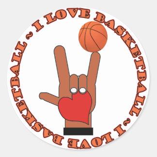 I LOVE BASKETBALL ASL SIGN CLASSIC ROUND STICKER