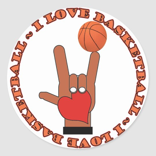 I LOVE BASKETBALL ASL SIGN CLASSIC ROUND STICKER
