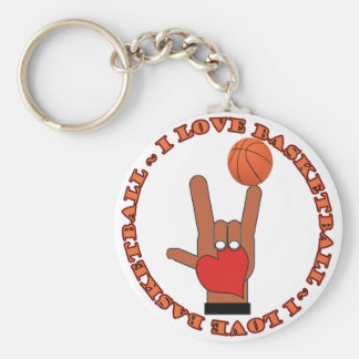 I LOVE BASKETBALL ASL SIGN KEYCHAIN