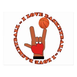 I LOVE BASKETBALL ASL SIGN POSTCARD