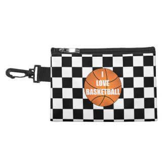 I love basketball black white checkers accessory bags