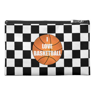 I love basketball black white checkers travel accessory bag