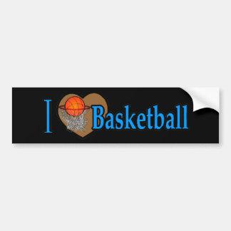 I Love Basketball Car Bumper Sticker
