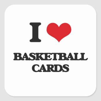 I Love Basketball Cards Square Stickers