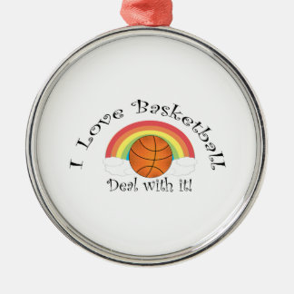 I love basketball deal with it christmas tree ornament