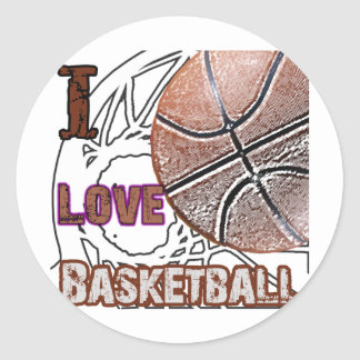 I Love Basketball Defense! Round Stickers