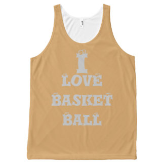 I love Basketball Graphic Text Art Design tank top All-Over Print Tank Top