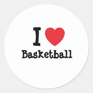 I love Basketball heart custom personalized Classic Round Sticker