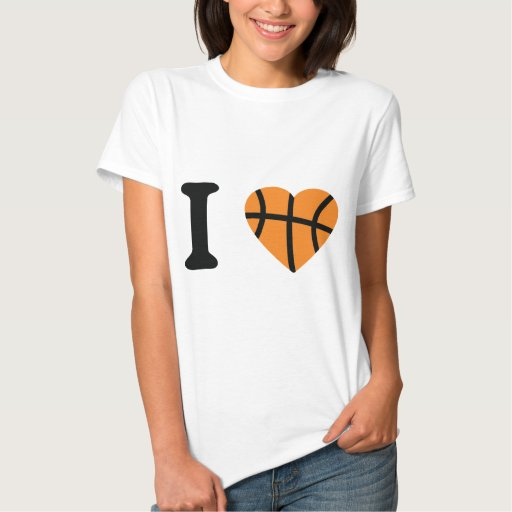 I Love Basketball Heart Tee Shirts