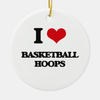 I love Basketball Hoops Double-Sided Ceramic Round Christmas Ornament