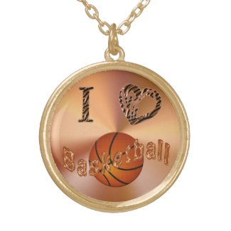 I Love Basketball Necklace with Animal Print Heart