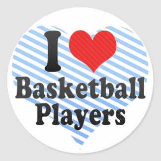 I Love Basketball Players Round Sticker