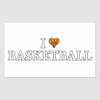I Love Basketball Rectangular Sticker