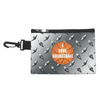 I love basketball silver diamond steel plate accessory bags
