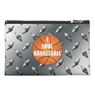 I love basketball silver diamond steel plate travel accessories bag