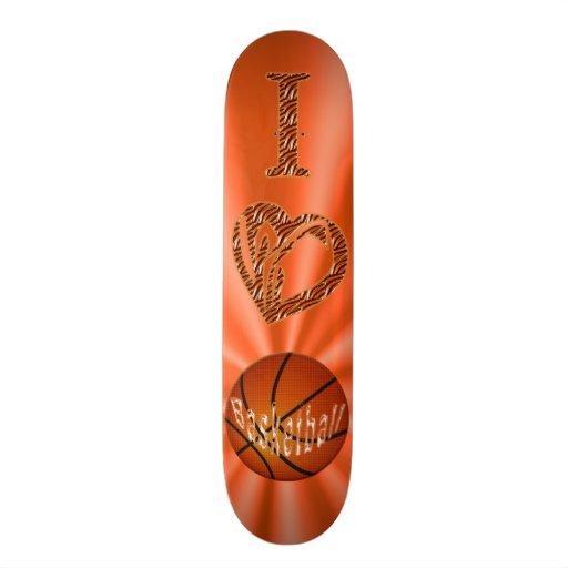 I LOVE Basketball Skateboard Orange & Animal Print