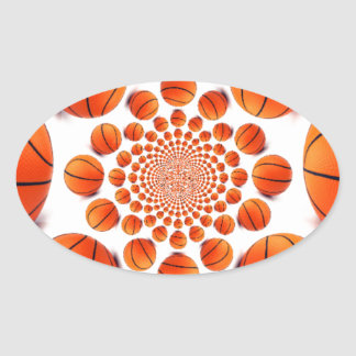 I love basketball oval sticker