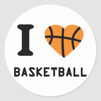I love basketball round stickers