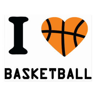 I love basketball symbol postcard