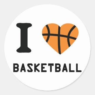 I love basketball symbol round sticker