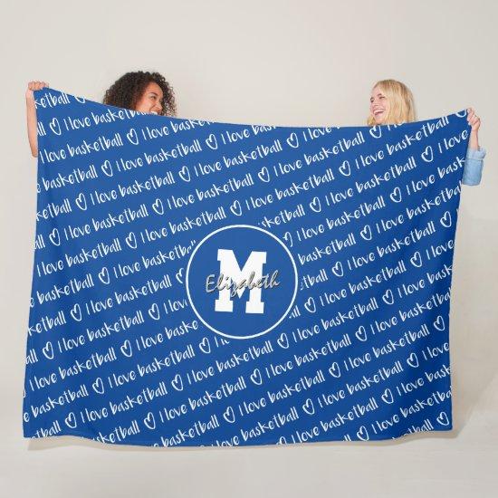 I love basketball typography blue white ANY color Fleece Blanket