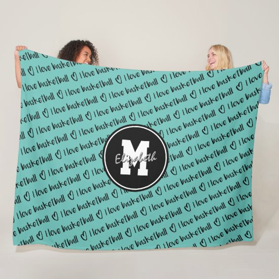 I love basketball typography teal white ANY color Fleece Blanket