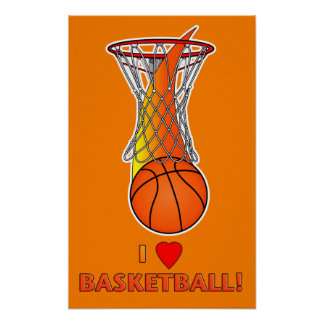 I Love Basketball with Heart Poster