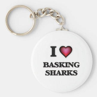 I Love Basking Sharks Keychain