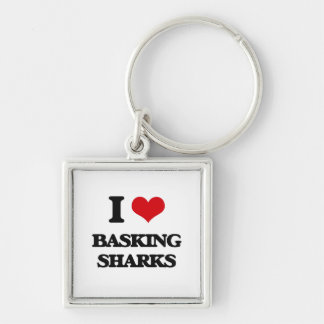 I love Basking Sharks Silver-Colored Square Keychain